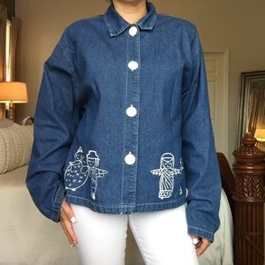 Vintage On The Rocks Denim Hand Painted Button Top